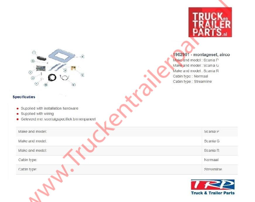 Montageset Slimcool tbv Scania PGR series